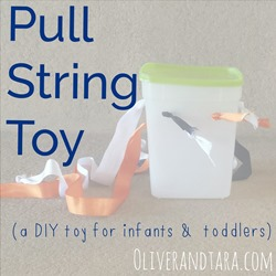 Pull String Toy: A DIY activity for infants and toddlers! Great for cause and effect as well as fine motor! | find it at http://www.Oliverandtara.com