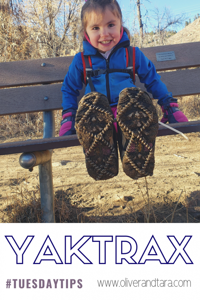 YakTrax with kids and our hack for keeping them on! | oliverandtara.com